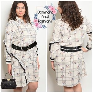 Dresses & Skirts - 🌸Floral plaid Button Plus Size Dress🌸